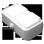 Розетка РА16-302 2мест с крышкой о/п белая Светоприбор