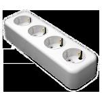 Розетка РА16-245 4мест о/п з/к белая Светоприбор