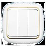 Выключатель С056-170 белый с золотой вставкой 3кл
