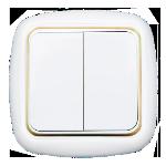 Выключатель С56-164 2кл с/п белый с золотой вставкой Светоприбор